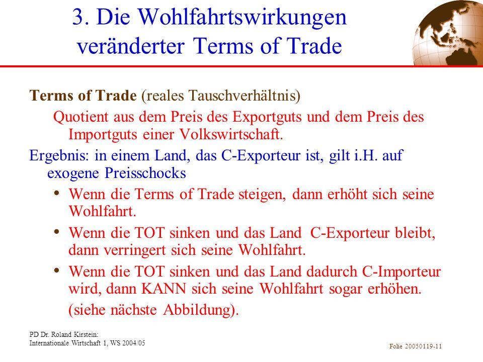 3. Die Wohlfahrtswirkungen veränderter Terms of Trade