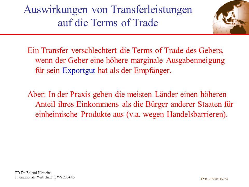 Auswirkungen von Transferleistungen