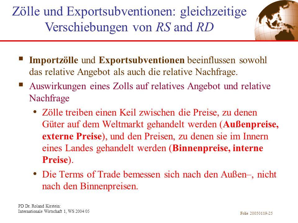 Zölle und Exportsubventionen: gleichzeitige Verschiebungen von RS and RD
