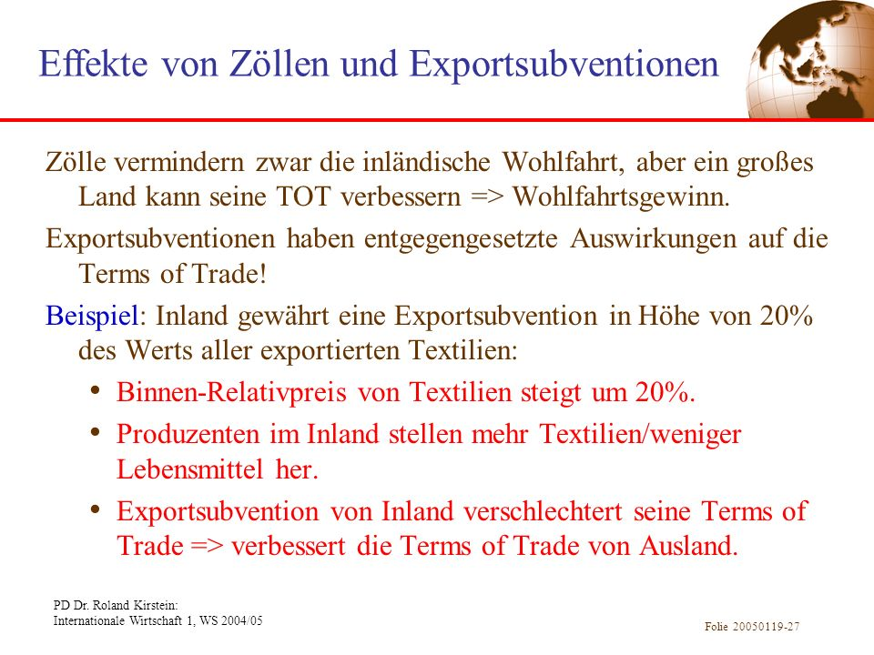 Effekte von Zöllen und Exportsubventionen