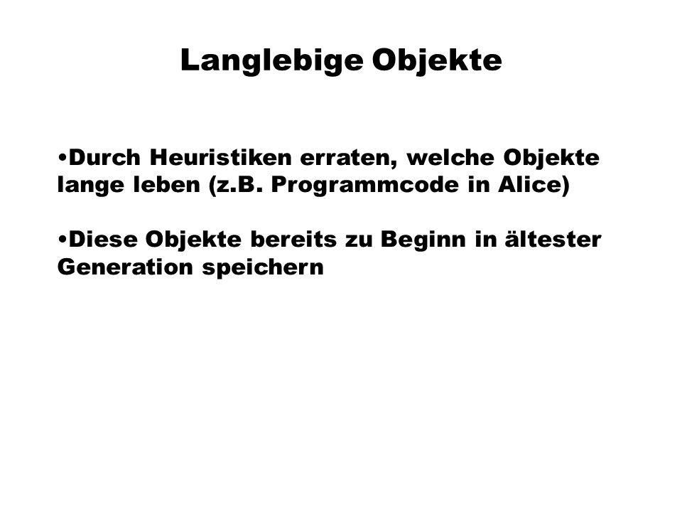 Langlebige Objekte Durch Heuristiken erraten, welche Objekte lange leben (z.B. Programmcode in Alice)