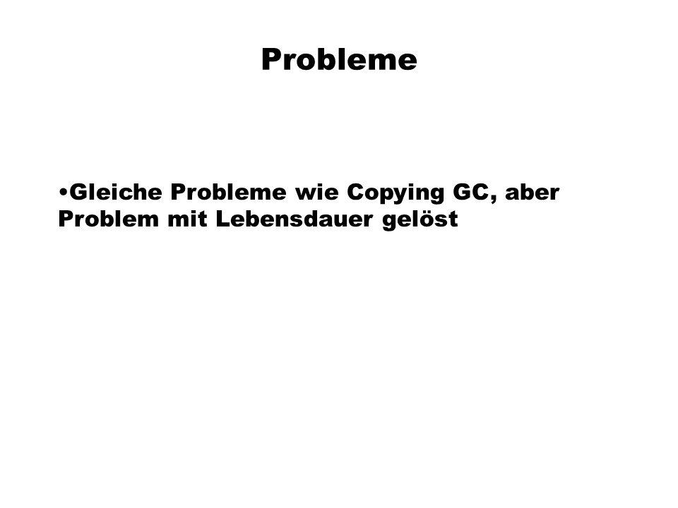 Probleme Gleiche Probleme wie Copying GC, aber Problem mit Lebensdauer gelöst