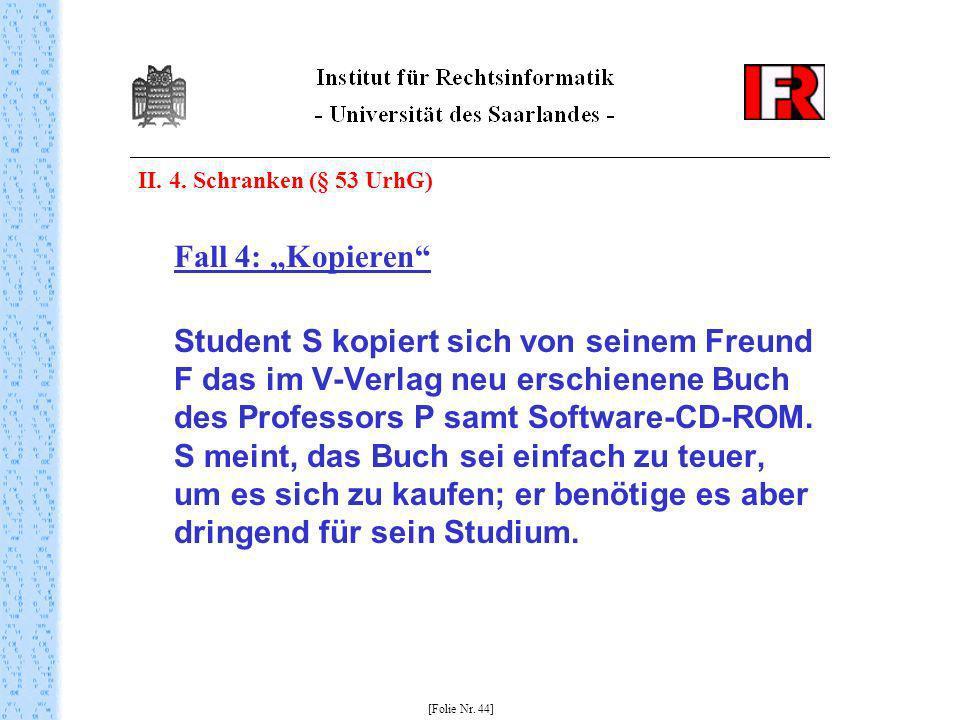"""II. 4. Schranken (§ 53 UrhG) Fall 4: """"Kopieren"""
