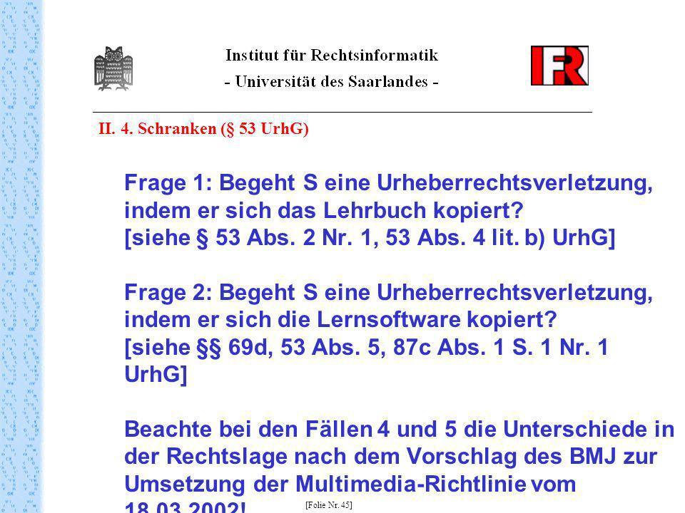 II. 4. Schranken (§ 53 UrhG)
