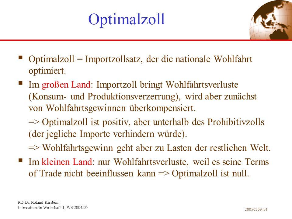 Optimalzoll Optimalzoll = Importzollsatz, der die nationale Wohlfahrt optimiert.