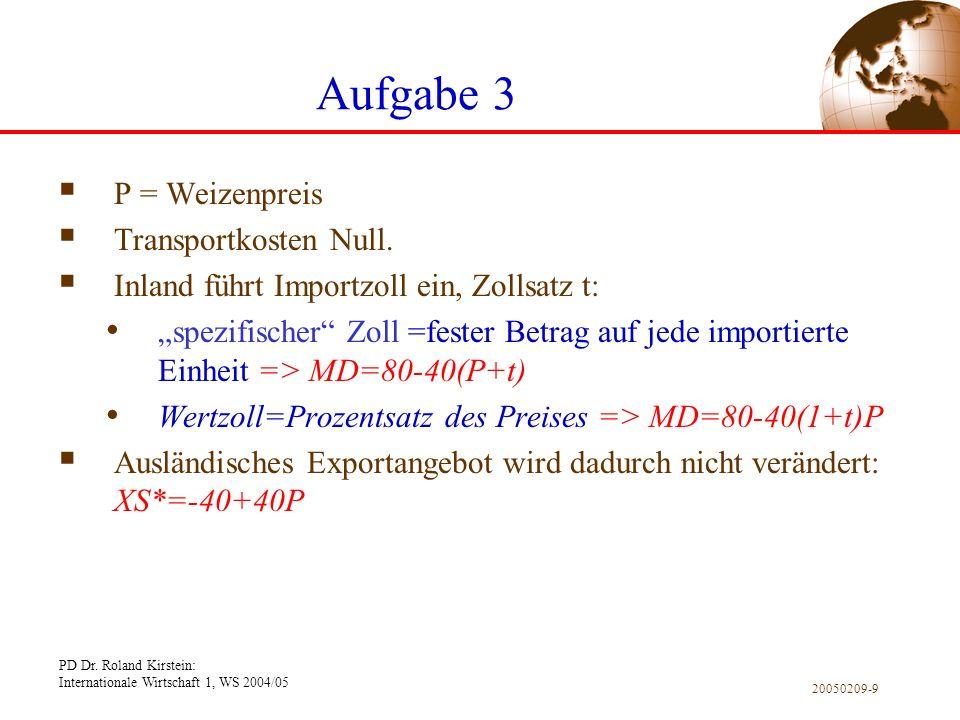 Aufgabe 3 P = Weizenpreis Transportkosten Null.