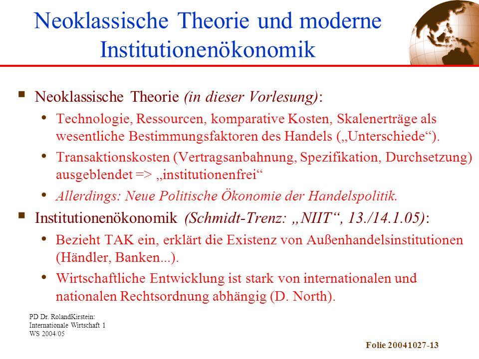 Neoklassische Theorie und moderne Institutionenökonomik