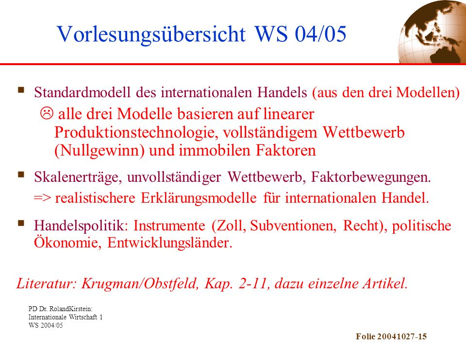 Vorlesungsübersicht WS 04/05