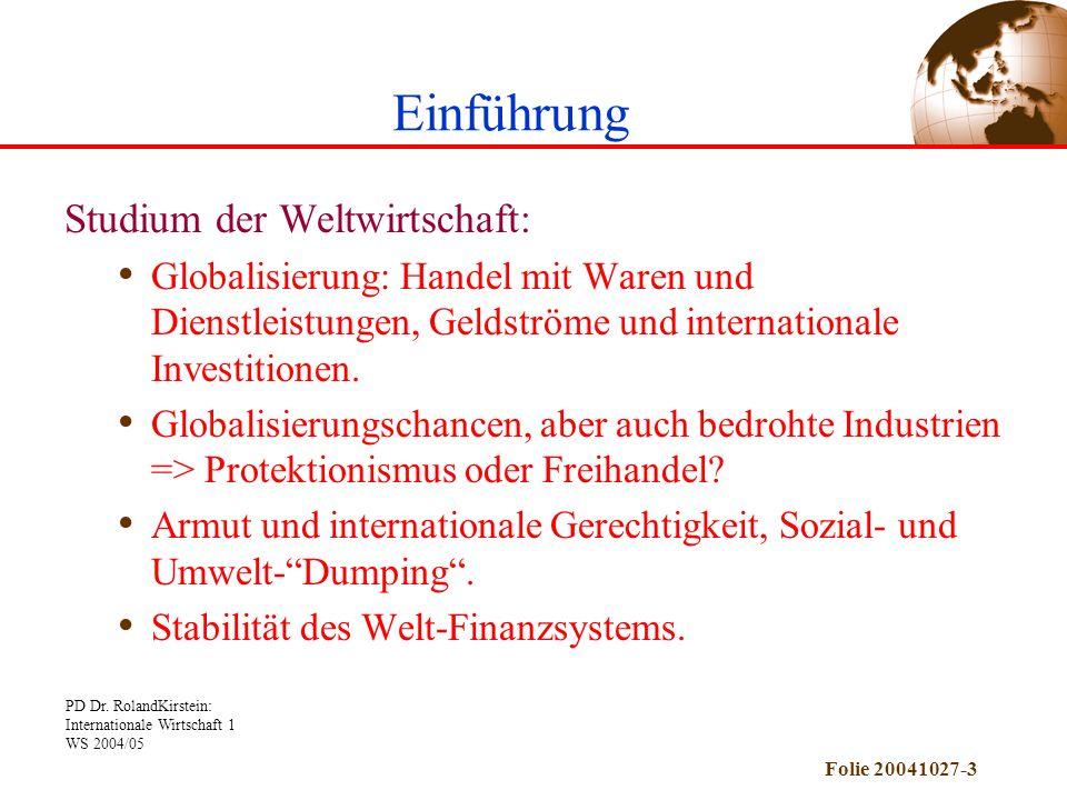 Einführung Studium der Weltwirtschaft: