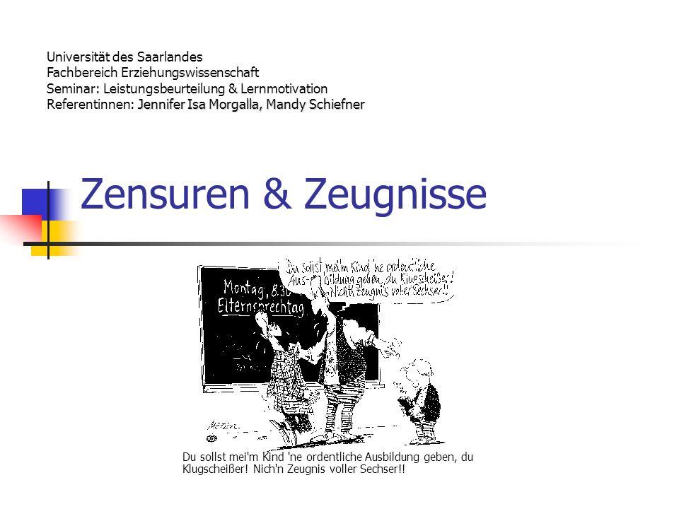 Zensuren & Zeugnisse Universität des Saarlandes