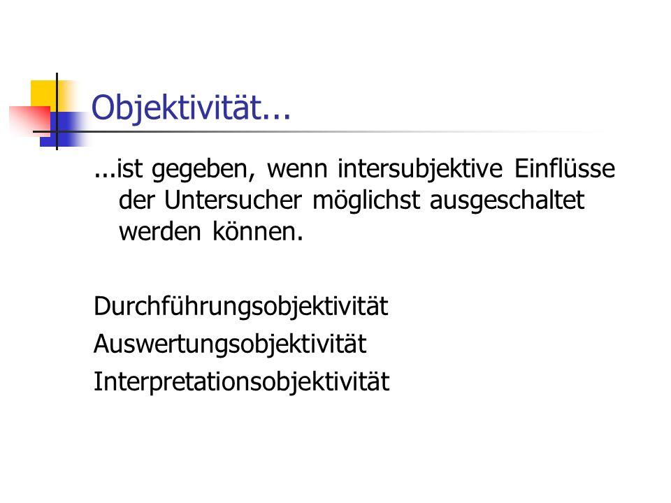 Objektivität... ...ist gegeben, wenn intersubjektive Einflüsse der Untersucher möglichst ausgeschaltet werden können.