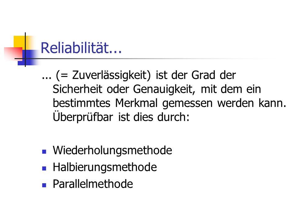 Reliabilität...