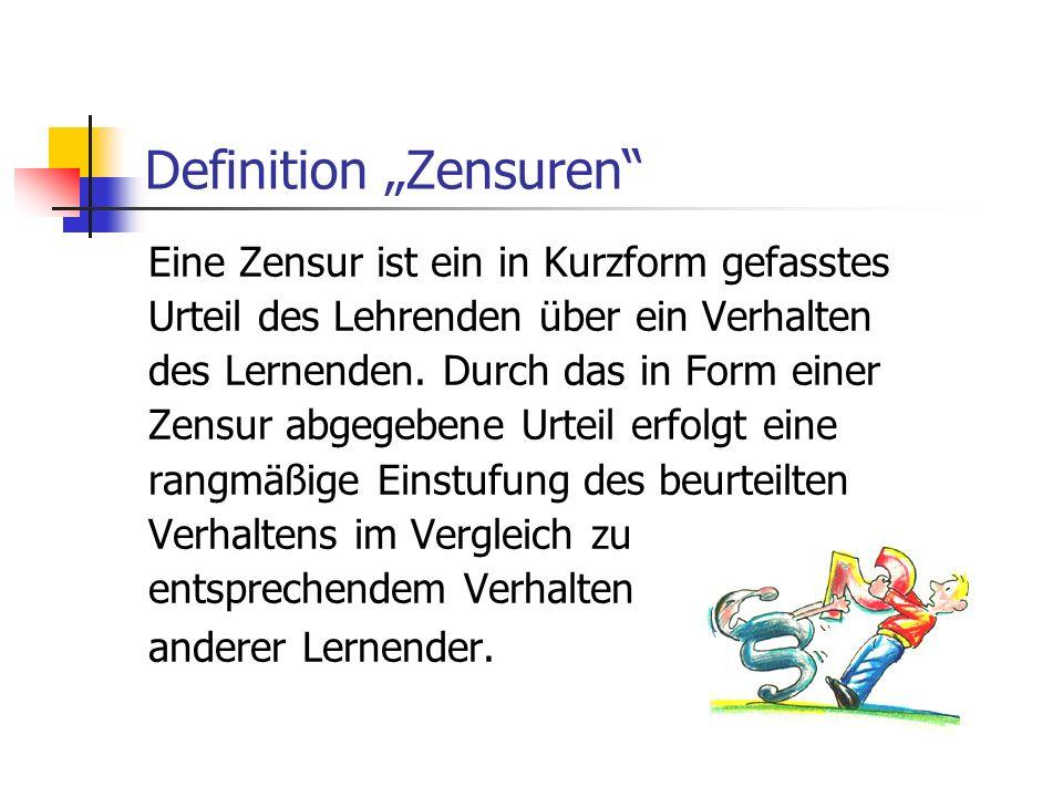 """Definition """"Zensuren"""