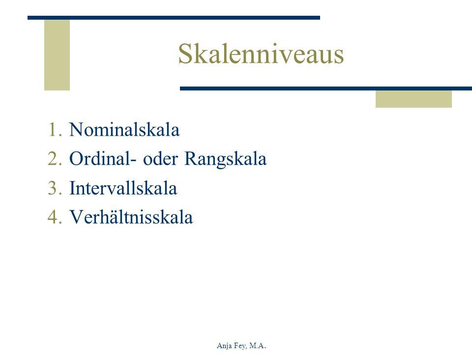 Skalenniveaus Nominalskala Ordinal- oder Rangskala Intervallskala