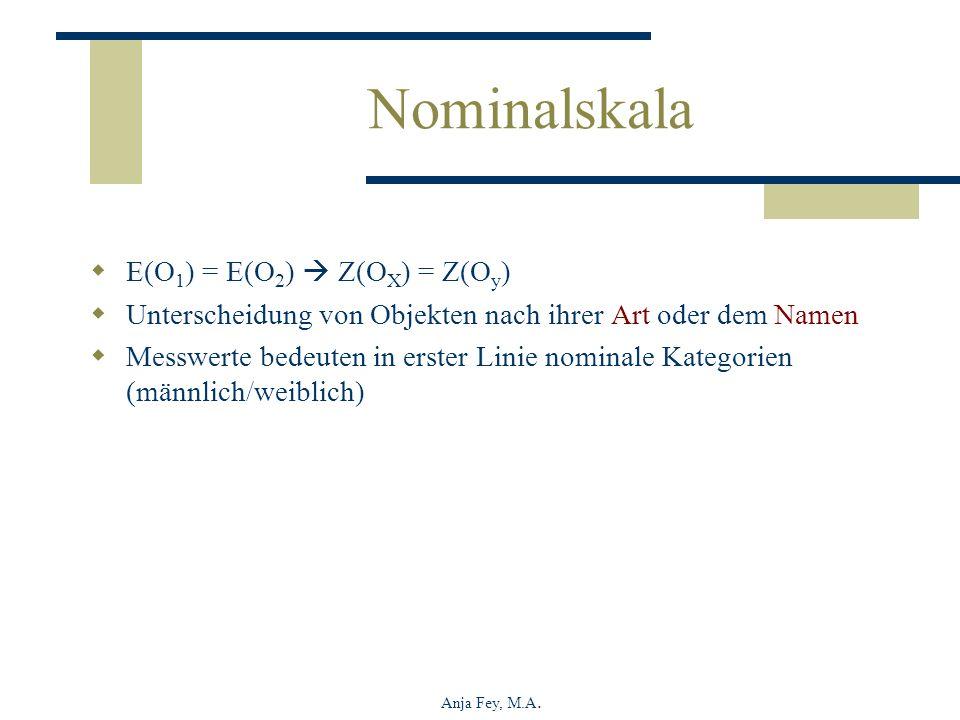 Nominalskala E(O1) = E(O2)  Z(OX) = Z(Oy)