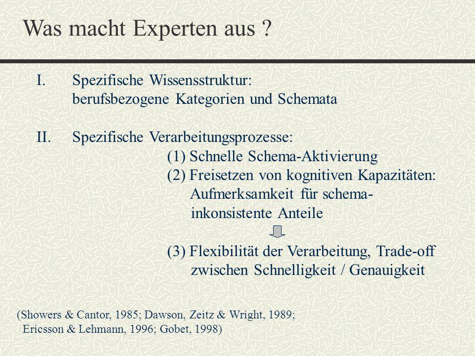 Was macht Experten aus I. Spezifische Wissensstruktur: