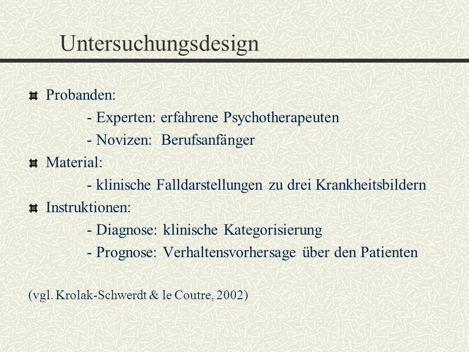 Untersuchungsdesign Probanden: - Experten: erfahrene Psychotherapeuten