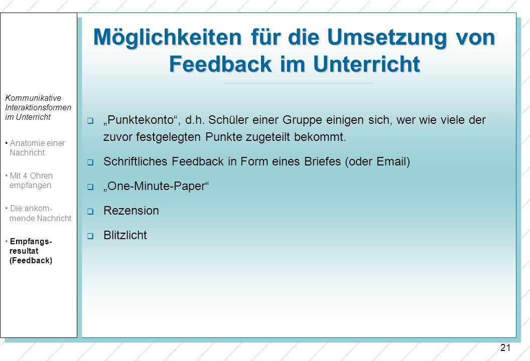 Möglichkeiten für die Umsetzung von Feedback im Unterricht