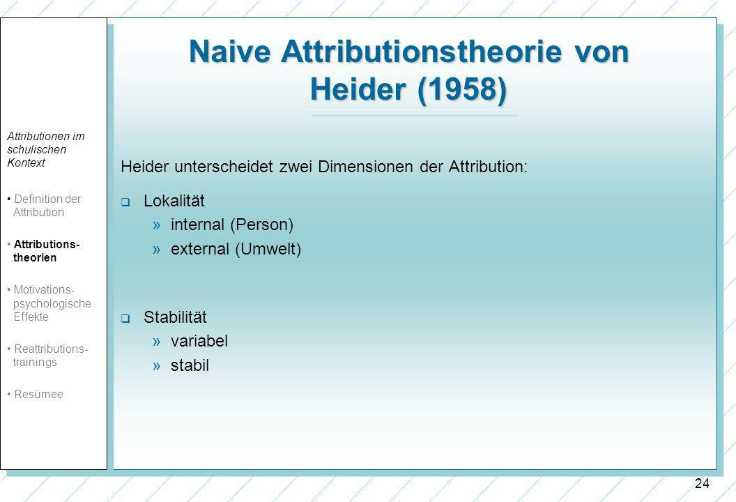Naive Attributionstheorie von Heider (1958)