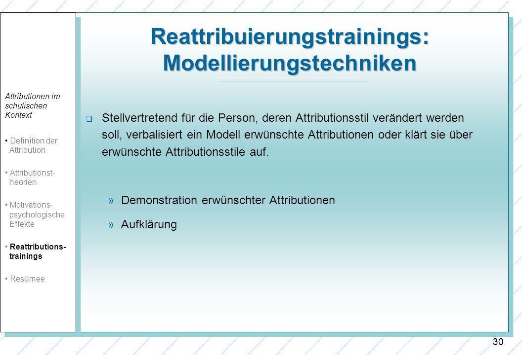 Reattribuierungstrainings: Modellierungstechniken