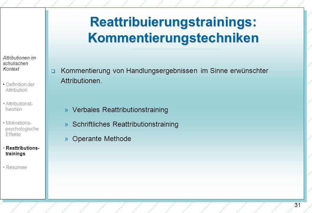 Reattribuierungstrainings: Kommentierungstechniken