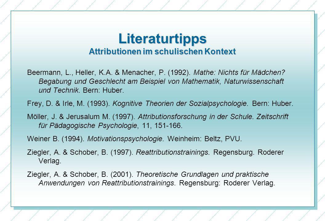 Literaturtipps Attributionen im schulischen Kontext