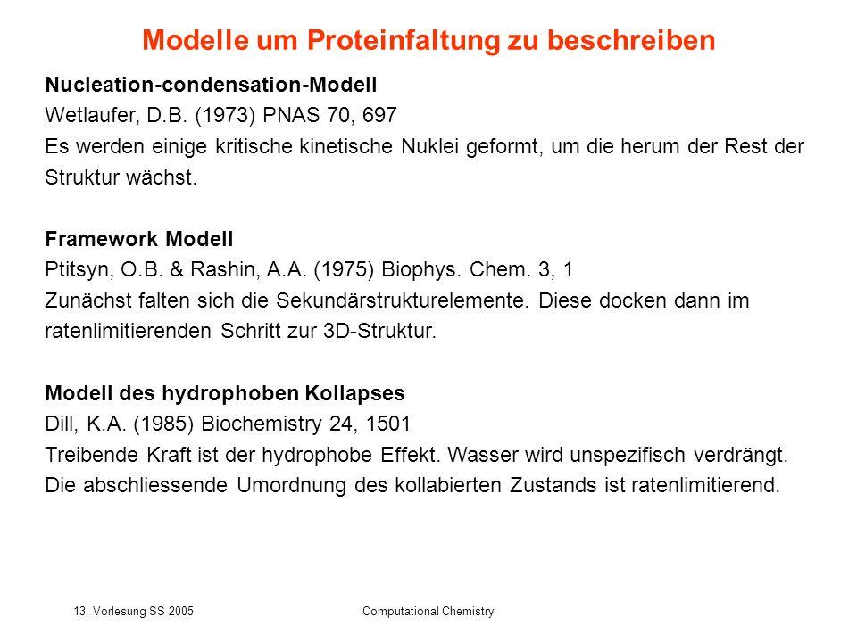 Modelle um Proteinfaltung zu beschreiben