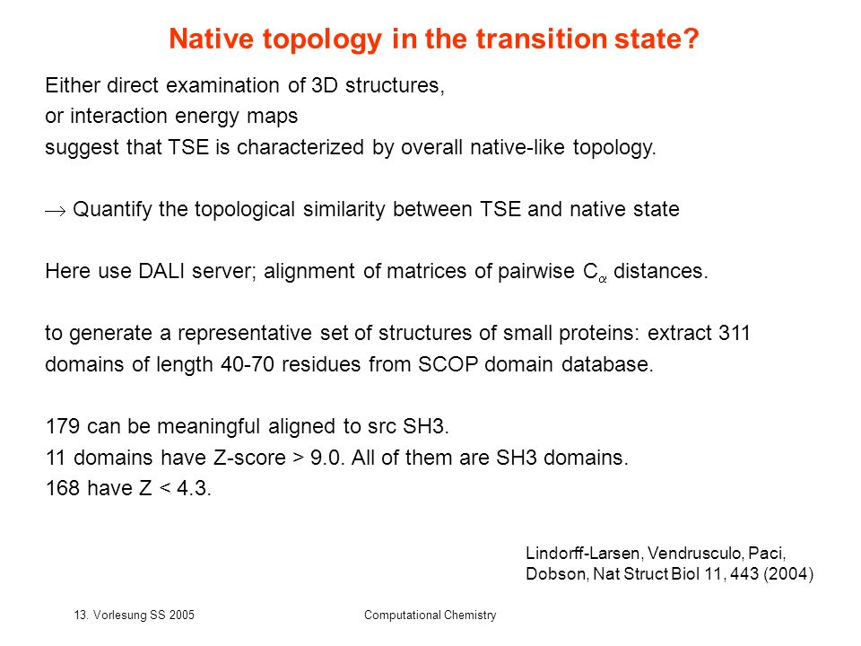 Native topology in the transition state