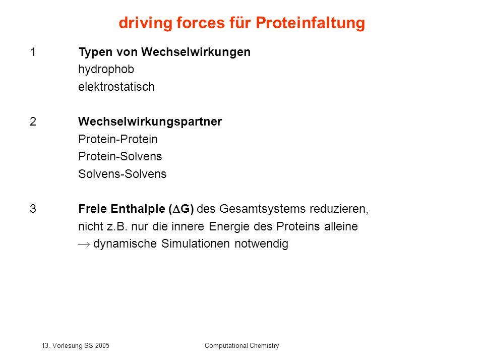 driving forces für Proteinfaltung