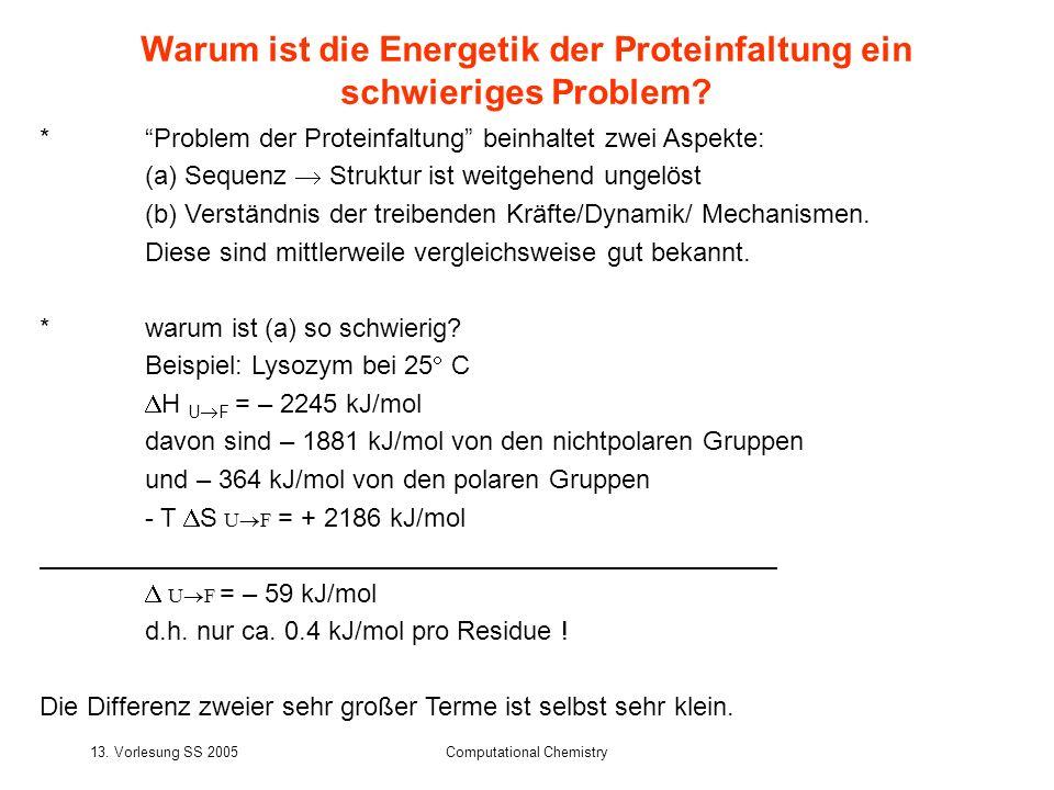 Warum ist die Energetik der Proteinfaltung ein schwieriges Problem