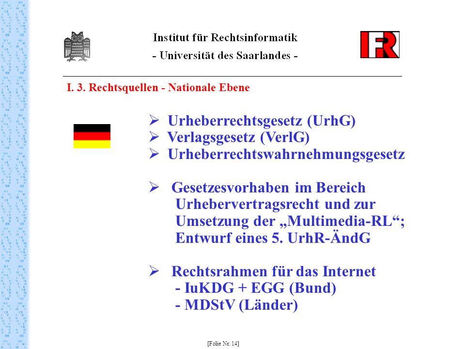 Urheberrechtsgesetz (UrhG) Verlagsgesetz (VerlG)
