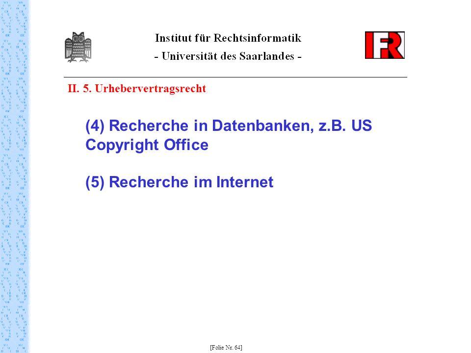 II. 5. Urhebervertragsrecht