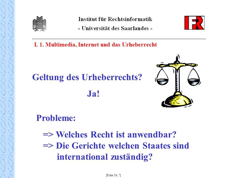 Geltung des Urheberrechts Ja!