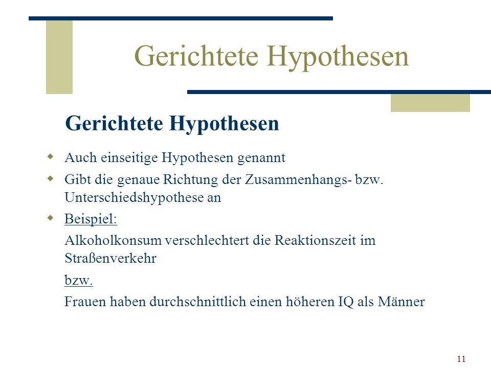 Gerichtete Hypothesen