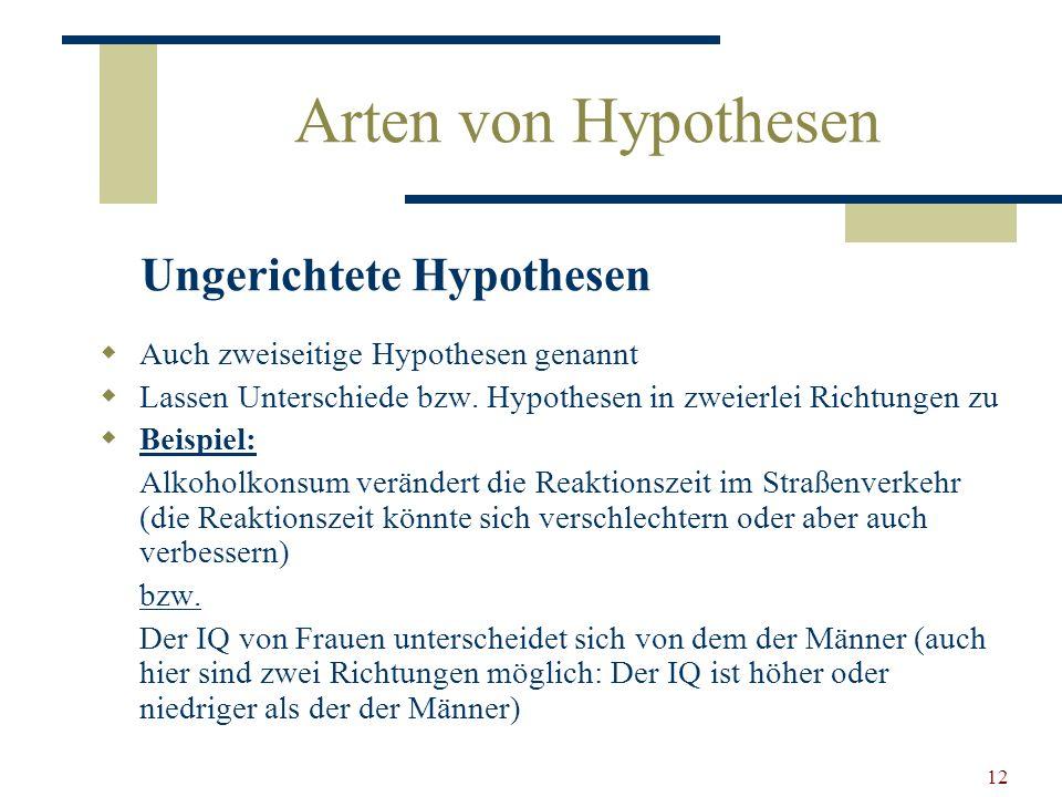 Arten von Hypothesen Ungerichtete Hypothesen