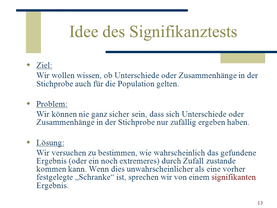 Idee des Signifikanztests