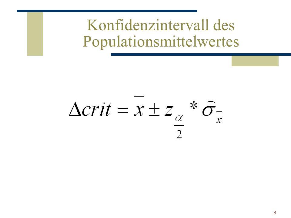 Konfidenzintervall des Populationsmittelwertes