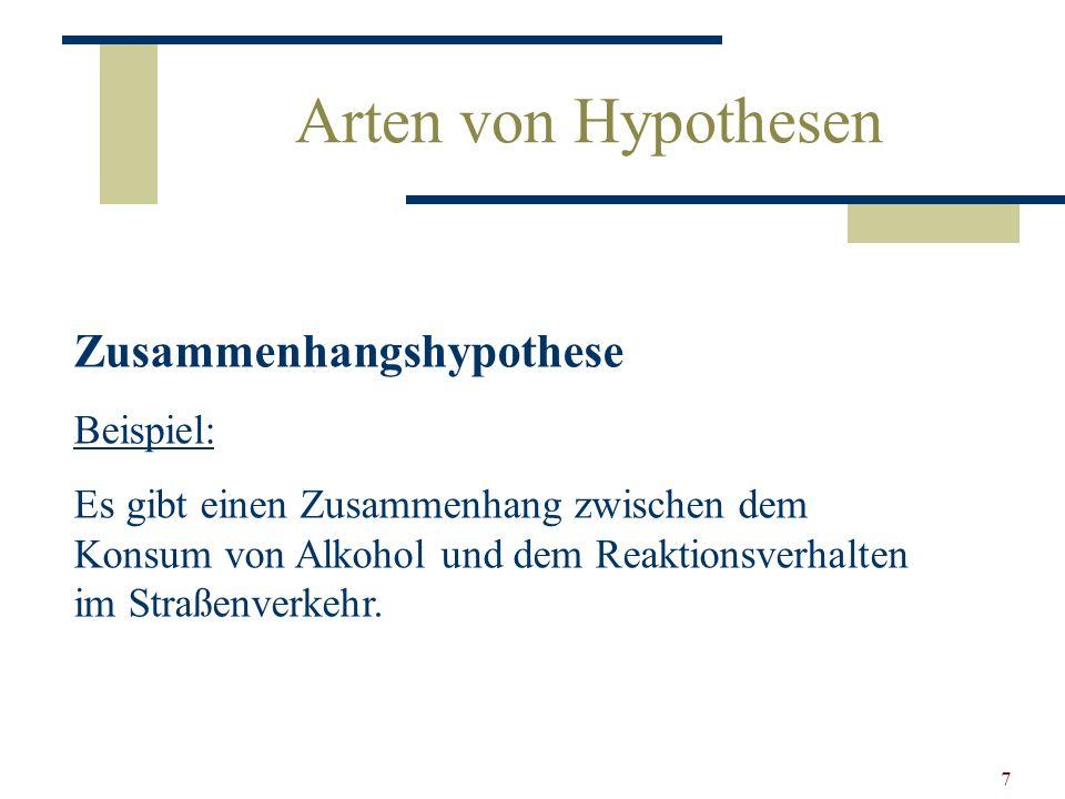 Arten von Hypothesen Zusammenhangshypothese Beispiel: