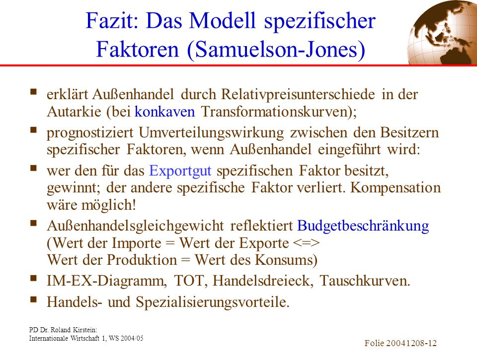 Fazit: Das Modell spezifischer Faktoren (Samuelson-Jones)
