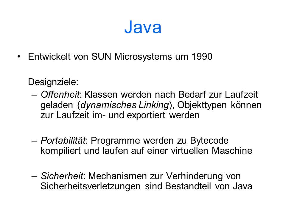 Java Entwickelt von SUN Microsystems um 1990 Designziele: