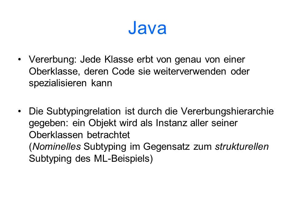 Java Vererbung: Jede Klasse erbt von genau von einer Oberklasse, deren Code sie weiterverwenden oder spezialisieren kann.
