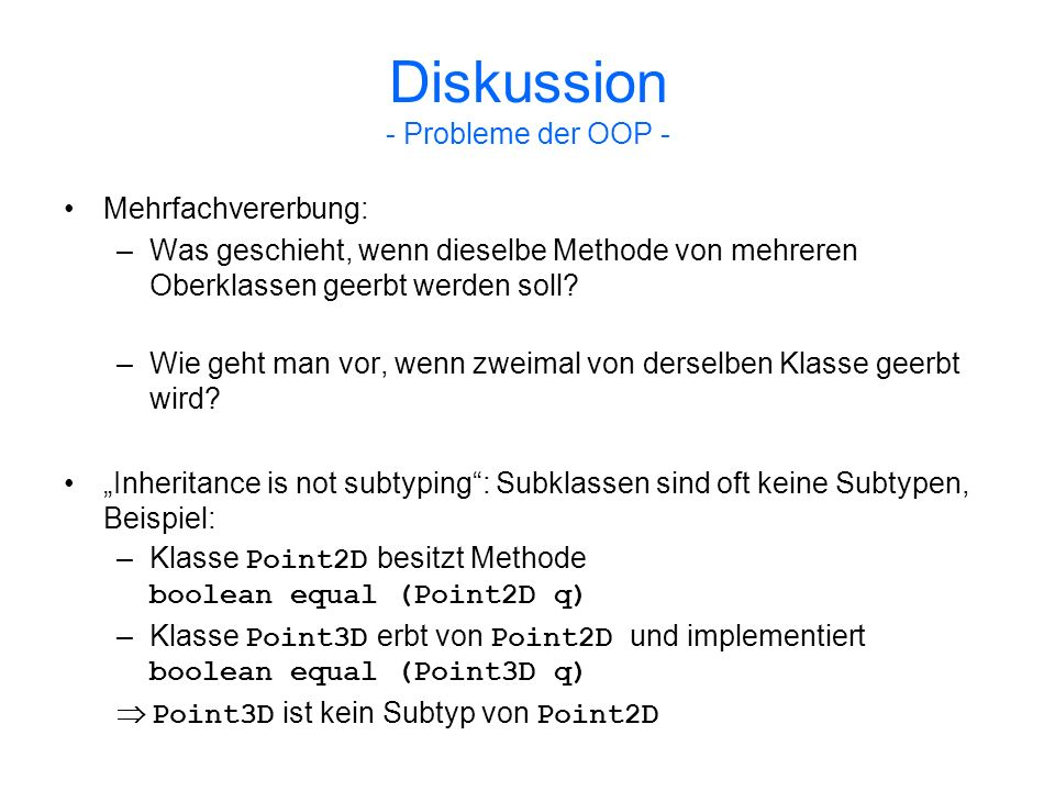 Diskussion - Probleme der OOP -