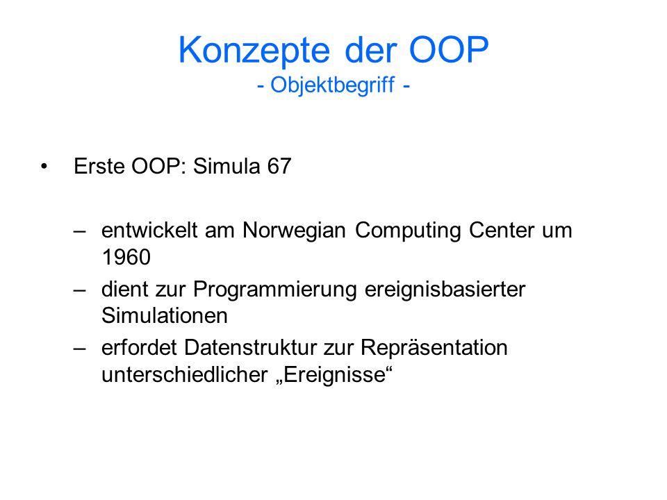 Konzepte der OOP - Objektbegriff -