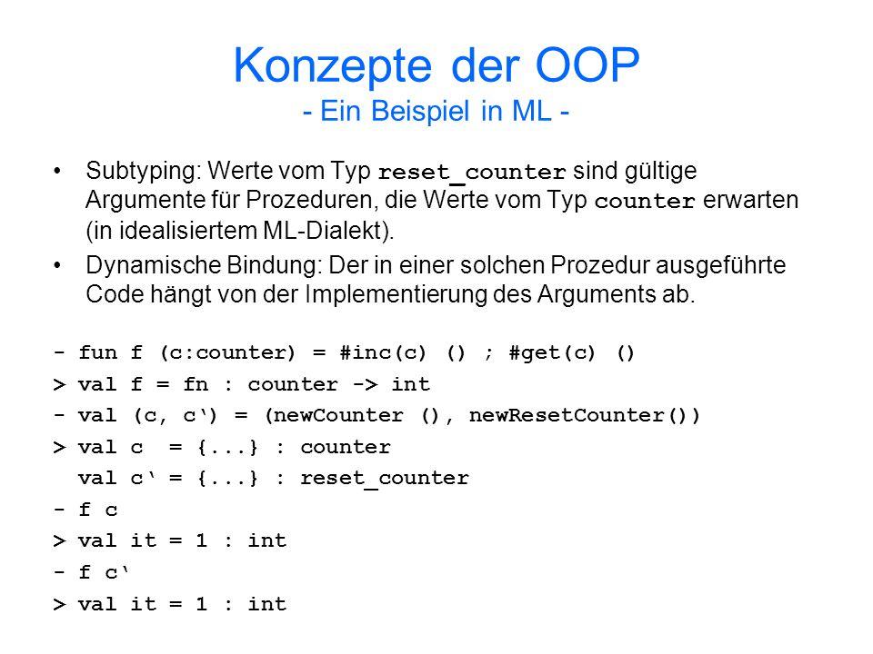 Konzepte der OOP - Ein Beispiel in ML -