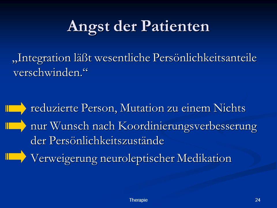 """Angst der Patienten""""Integration läßt wesentliche Persönlichkeitsanteile verschwinden. reduzierte Person, Mutation zu einem Nichts."""