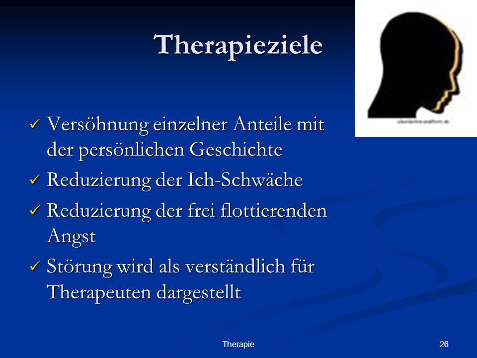 TherapiezieleVersöhnung einzelner Anteile mit der persönlichen Geschichte. Reduzierung der Ich-Schwäche.