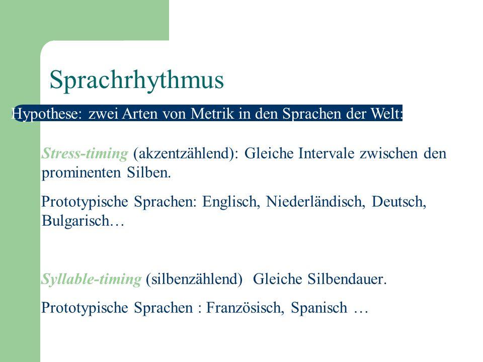 Sprachrhythmus Hypothese: zwei Arten von Metrik in den Sprachen der Welt: