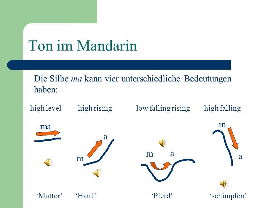 Ton im Mandarin Die Silbe ma kann vier unterschiedliche Bedeutungen haben: