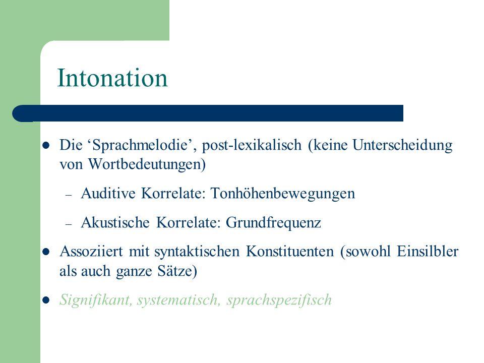 Intonation Die 'Sprachmelodie', post-lexikalisch (keine Unterscheidung von Wortbedeutungen) Auditive Korrelate: Tonhöhenbewegungen.