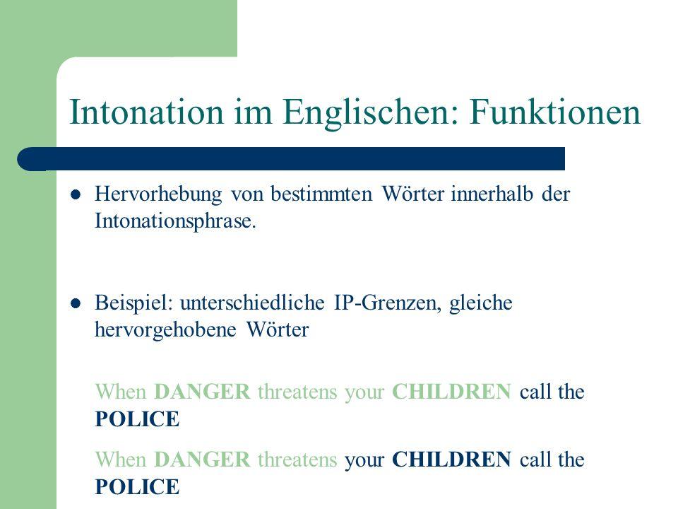 Intonation im Englischen: Funktionen